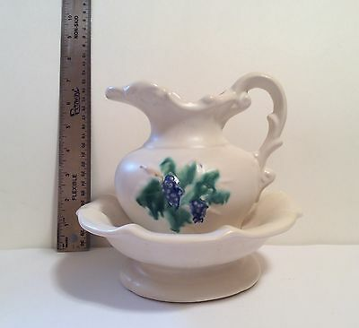 "Vintage Mccoy Art Pottery ""curio Grapes"" Pitcher & Bowl"