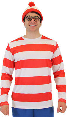 Adult Men's Book Series Where's Waldo Red and White DELUXE Costume Set