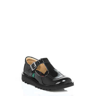 Kickers Kids Junior Black Patent Leather Shoes Buckle Girls School 1-12532 Size