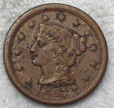 1847 Braided Hair Large Cent N-28 Variety *RARE R.4* XF Detailing 76-200 known