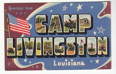 [55800] Old Large Letter Postcard Greetings From Camp Livingston, Louisiana