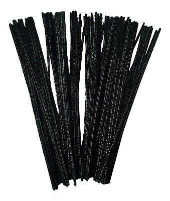 100 Black pipe cleaners - stems chenille 30cm Craft *****FREE DELIVERY*****