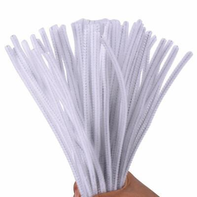 100 White Pipe Cleaners Stems Chenille Craft  30cm x 6mm Childrens Crafts Kids