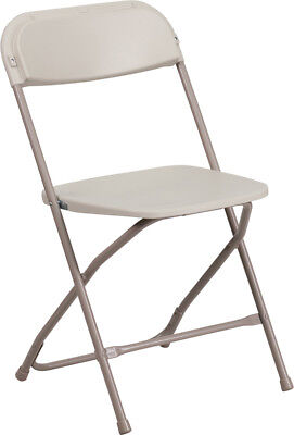 (10 PACK) Commercial Quality Stackable Plastic Folding Chairs in Beige Plastic