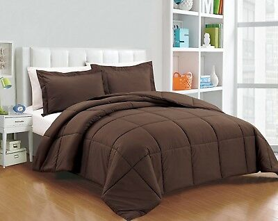 Chezmoi Collection Down Alternative Comforter 3-Piece Queen Set, Chocolate