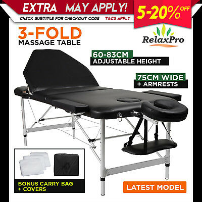 NEW 75cm RELAXPRO ALUMINIUM PORTABLE MASSAGE TABLE BED beauty therapy waxing