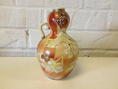 Antique Japanese Likely Meiji Period Gourd Form Ceramic Vase w/ Bird Flower Dec.