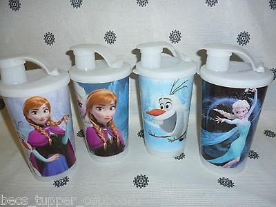 Tupperware 330ml Frozen Tumblers Cups with Seals Olaf Anna Elsa New!