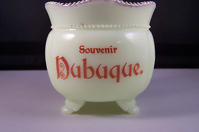 Vintage Dubuque Iowa Souvenir Custard Glass  tri-footed pot Souvenir
