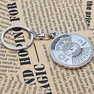50 years perpetual calendar Keyring keyfob Unique Compass Metal KeyChain Ring LU