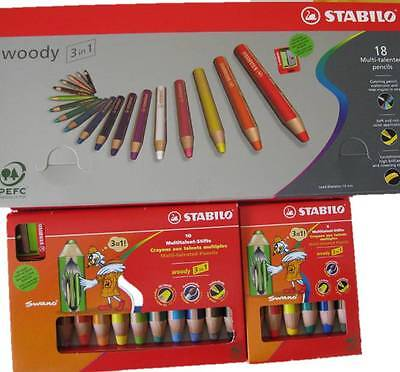 Stabilo Woody 3 in 1 Stifte im 6er, 10er und 18er Stifte Set Multitalentstifte