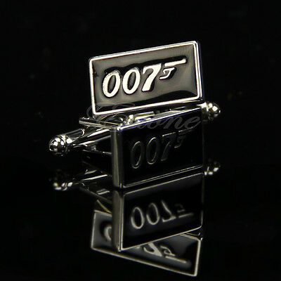 Fashion Stainless Steel Silver Vintage Men's Wedding Gift Film 007 Cuff Links
