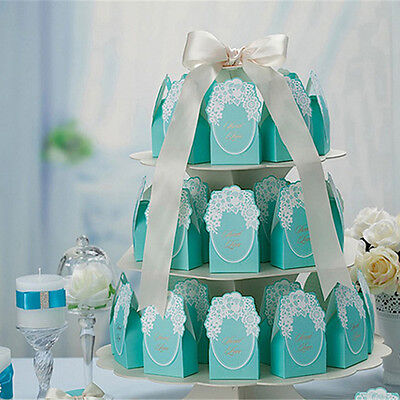 Blue Laser Cut Wedding Favor Sweet Cake Gift Candy Boxes Bags Anniversary Party