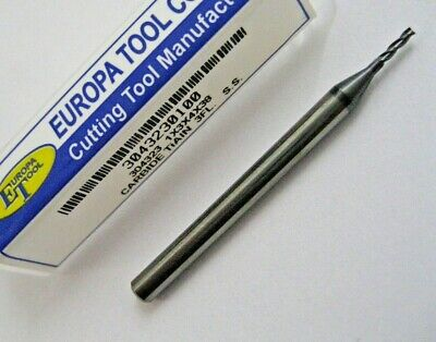 1mm SOLID CARBIDE 3 FLUTED TiALN COATED SLOT END MILL EUROPA TOOL 3043230100 #89