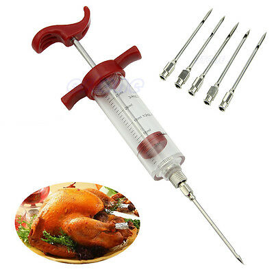 Marinade Injector Flavor Syringe Cook Meat Poultry BBQ Turkey Chicken + 5 Needle