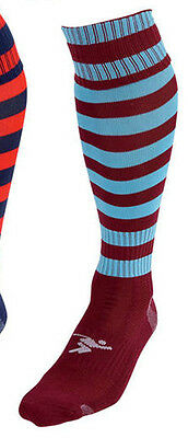 Precision Training Striped Pro Football Socks Boys Maroon/blue Aid Support !!!
