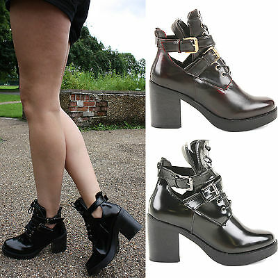 0461356597d Womens Ladies Chunky Heel Gold Buckle Chelsea Ankle Cut Out Boots Shoes Size