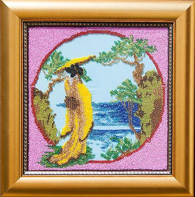 Japanese lady at river coast bead embroidery in golden frame
