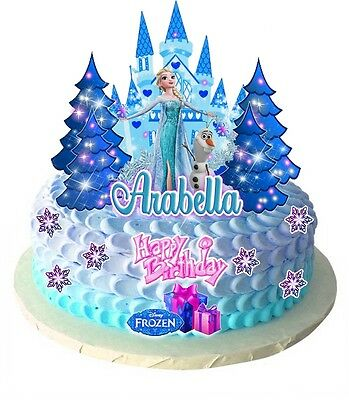 Edible FROZEN Princess Elsa PERSONALISED Castle Scene Wafer Card Cake topper