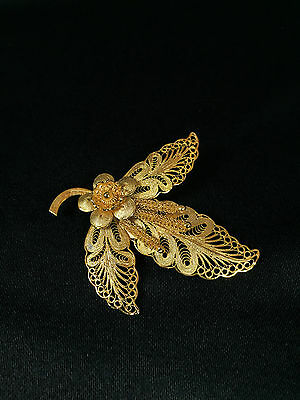 Sterling Silver Gold Plated Filigree Three Petal Leaf Pin
