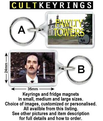 Fawlty Towers keyring / fridge magnets - Farty Towels, Flowery Twats, Fatty Owls