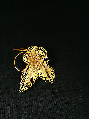 Sterling Silver Gold Plated Filigree Small Flower with Two Leaves Pin