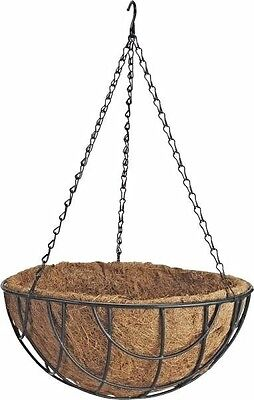 """Lot of Ten (10) 14"""" Steel Hanging Planters with Natural Coconut Liner GB-4337-3L"""