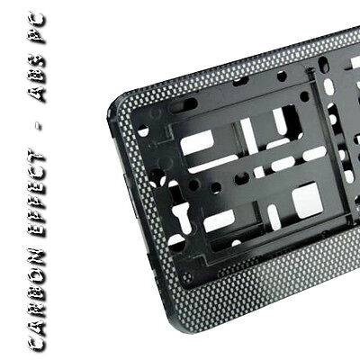 Carbon Effect Number Plate Holder Surround For Any Car Brand & Model Abs Pc