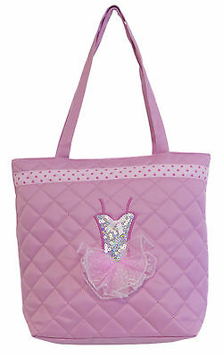 Girl's Light Pink Quilted Tutu Dance Tote Bag