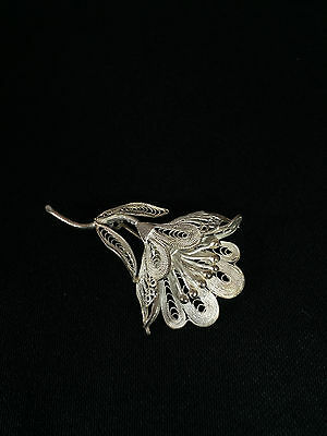 Sterling Silver Filigree Side View of Flower with Stem Pin