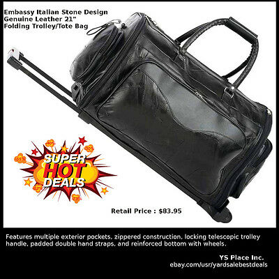 Black Genuine Leather Folding Trolley Rolling Gym Tote Bag Carry On Luggage