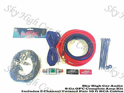 Oversized 8 Ga OFC AWG Amp Kit Twisted RCA Red Black Complete Sky High Car Audio