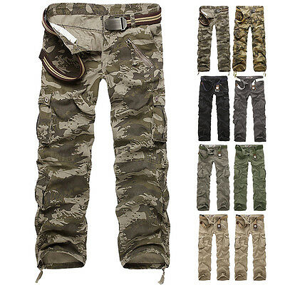 Stylish Men's Cargo Combat Trousers Tactical Fatigue Military Multi-Pocket Pants