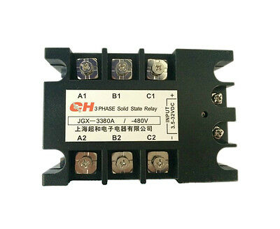 80A DC to AC 3.5-32VDC/480VAC 3 Phase SSR Solid State Relay + Indicator Light