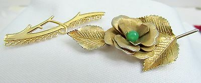 Lot of 2 Vintage Brooches Pins 12 KGF Marked Gold Pin Flower with Green stone