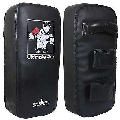TurnerMAX Leather Thai Pads Boxing Kick Punch Bag Black Straight Single