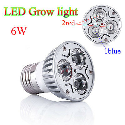 6W E27/GU10/E14 LED Grow Lamp Light for flowering plant and hydroponics system