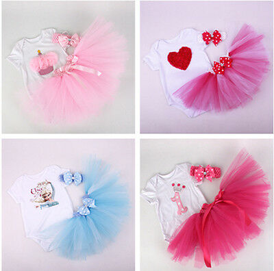 Baby Kids Toddler Princess Pageant Party dress Clothes Girl Tutu Birthday Suit