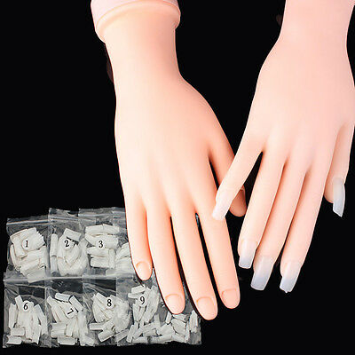 Practice Nail Art Trainer Training Hand Acrylic Half French Gel 500pcs False Tip