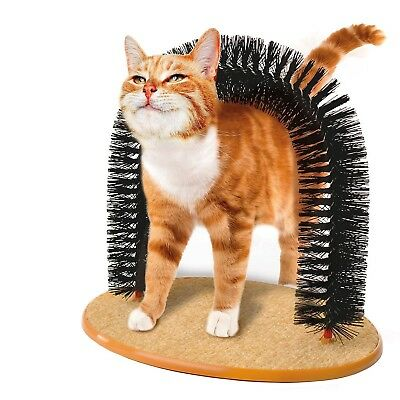 Massaging Grooming Arch Bristles Scratching Self Groomer Cats Kittens Catnip Toy