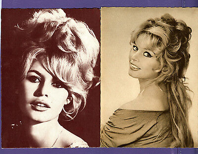vint lot 2 Sepia postcard photo Brigitte Bardot 1960's