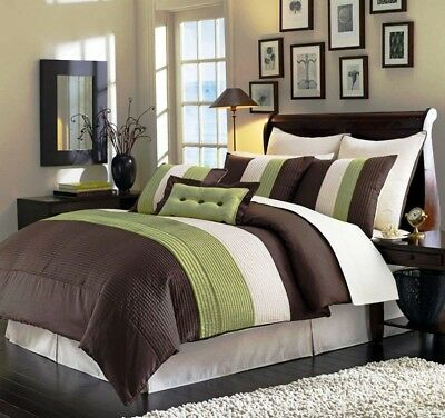 8-Piece Luxury Pintuck Pleated Stripe Green, Brown, and Beige Comforter Set Full