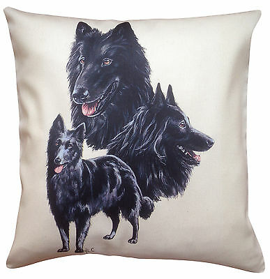 Belgian Groenendael Group Breed of Dog Cotton Cushion Cover - Perfect Gift