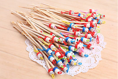 5pc bamboo earpick chinese doll spoon earwax remover cleaner ear tool safety