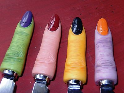 Set of 4 Dept 56 Halloween Witch fingers mini spreading knives Home Kitchen New