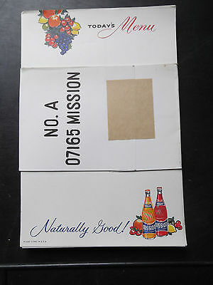 Vintage Mission Soda Menu Sheets 1960's