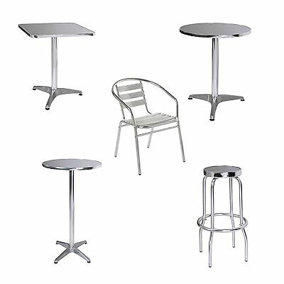 Home Office Aluminium Bistro Rounded, Square and Bar Tables Stool Chair - NEW