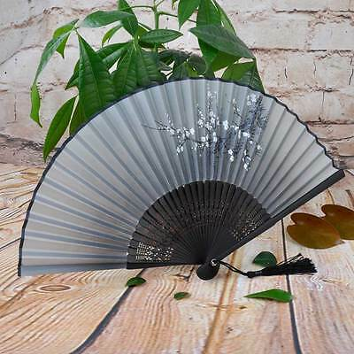 Chinese Lady Painted Plum Flower Silk Bamboo Handheld Folding Fan