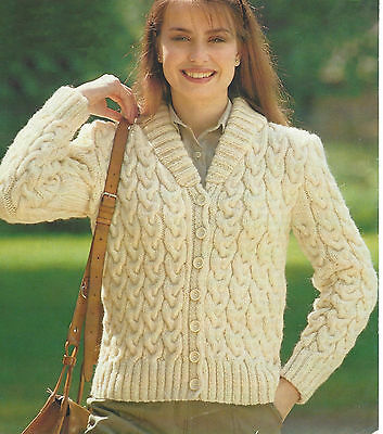 Ladies Knitting Pattern Close Cabled Jacket With Ribbed Collar Aran