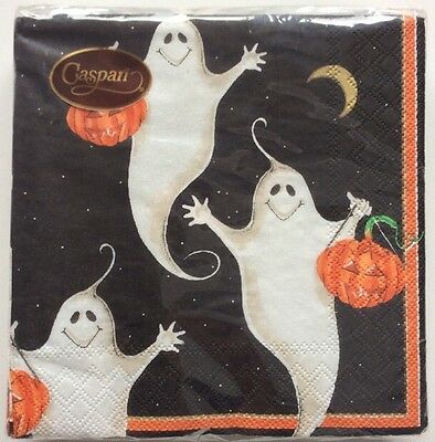 Discontinued Caspari Halloween Ghost Pumpkin Party Cocktail Napkin 20 ct 3 Ply